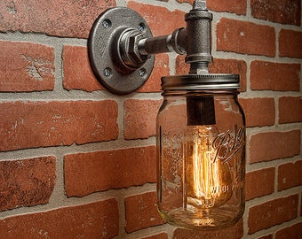 Industrial Lighting - Lighting - Mason Jar Light - Steampunk Lighting - Industrial Light - Sconce Light - Wall Light - FREE SHIPPING