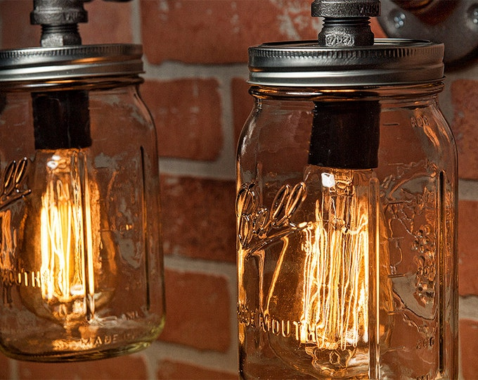 Mason Jar Light - Industrial Light - Edison Light - Rustic Light - Vanity Light - Wall Light - Wall Sconce - Steampunk Light - FREE SHIPPING
