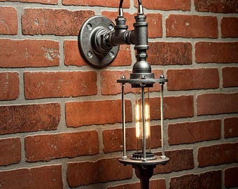 Steampunk Lighting - Lighting - Pipe Sconce Light - Industrial Lighting - Bathroom Light - Pipe Light - Wall Light - Sconce - FREE SHIPPING