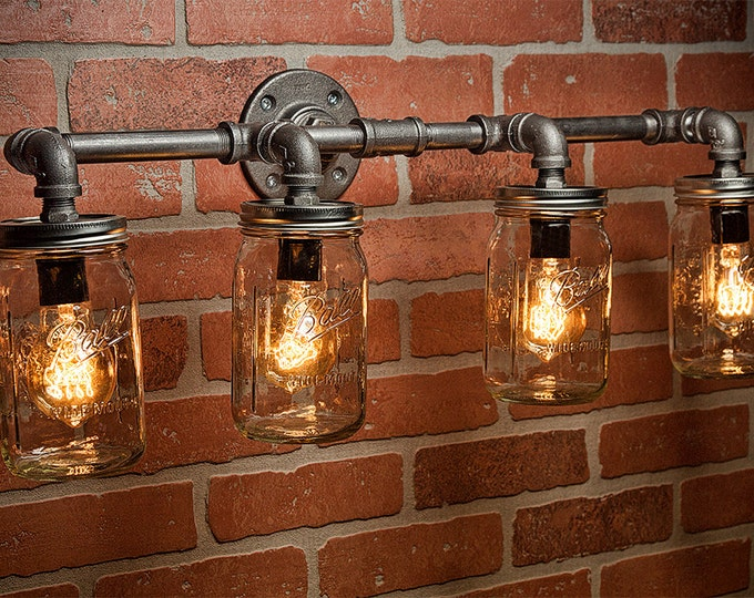 Farmhouse Lighting - Lighting - Mason Jar Light - Steampunk Lighting - Bar Light - Industrial Chandelier - Wall Light - FREE SHIPPING
