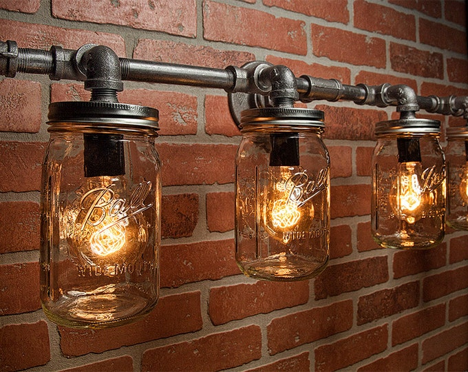Mason Jar Lights - Industrial Light - Edison Bulb - Rustic Light - Vanity Light - Wall Light - Wall Sconce - Steampunk Light - FREE SHIPPING