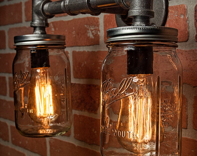 Industrial Lighting - Lighting - Mason Jar Light - Steampunk Lighting - Bar Light - Industrial Chandelier - Wall Light - FREE SHIPPING