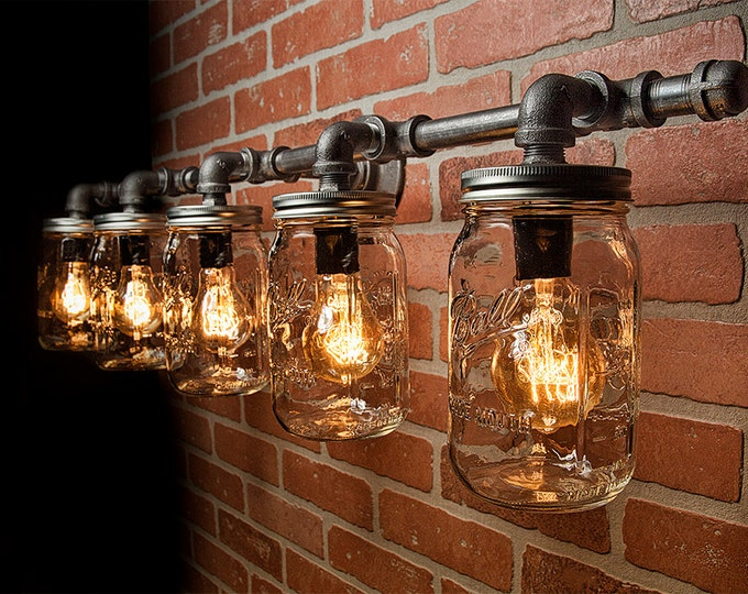 Featured listing image: Mason Jar Light Fixture - Industrial Light - Rustic Light - Vanity Light - Wall Light - Wall Sconce - Steampunk Light - FREE SHIPPING