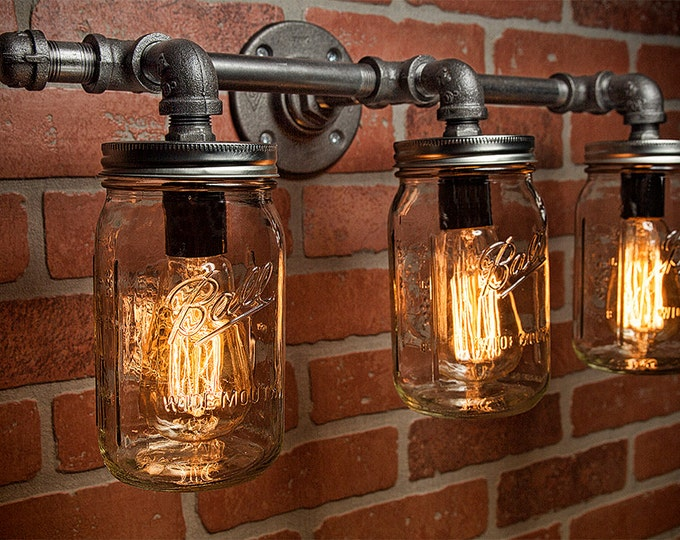 Mason Jar Light Fixture - Industrial Light -Light - Rustic Light - Vanity Light - Wall Light - Wall Sconce - Steampunk Light - FREE SHIPPING