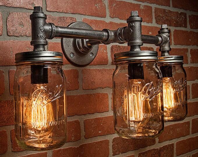 Industrial Lighting - Lighting - Mason Jar Light - Steampunk Lighting - Bar Light - Industrial Chandelier - Wall Light - FREE SHIPPING