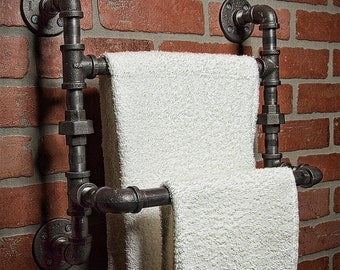 Industrial Bath Towel Rod - Bathroom Shelf - Home Decor - Industrial Shelf - Rustic Shelf - Industrial Decor - Towel Rack - FREE SHIPPING