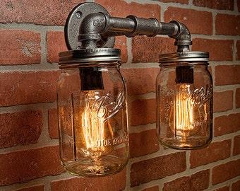 Farmhouse Lighting - Lighting - Mason Jar Light - Steampunk Lighting - Bar Light - Industrial Chandelier - Wall Light - FREE SHIPPING