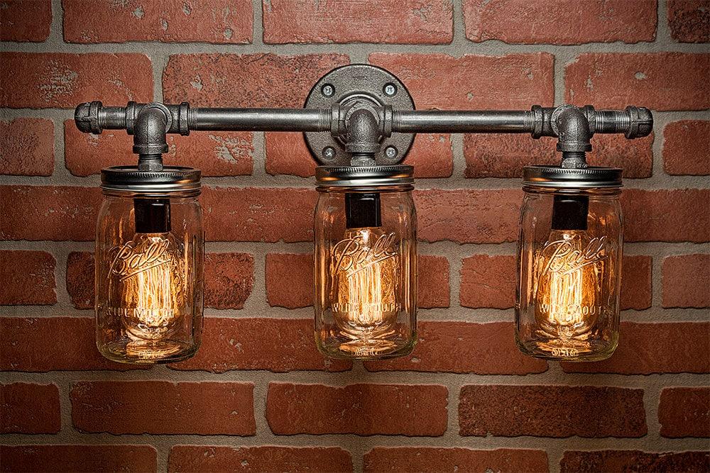 Mason Jar Light Fixture - Industrial Light -Light - Rustic Light ...