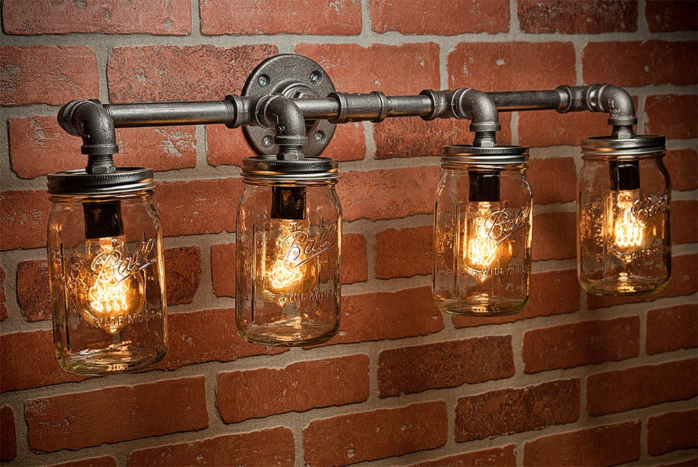 industrial bar lighting. Farmhouse Lighting - Mason Jar Light Steampunk Bar  Industrial Chandelier Wall FREE SHIPPING Industrial Bar Lighting