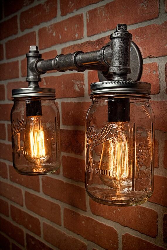Industrial Lighting Lighting Mason Jar Light Steampunk | Etsy