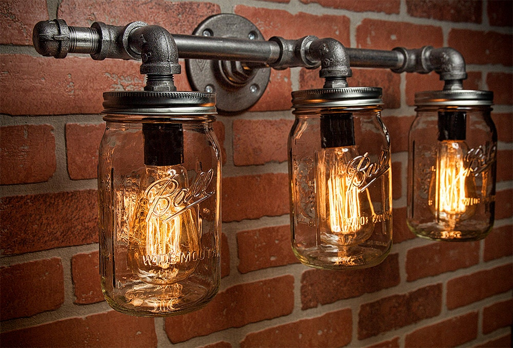 Mason Jar Light Fixture Industrial Rustic Vanity Wall Sconce Steampunk Free