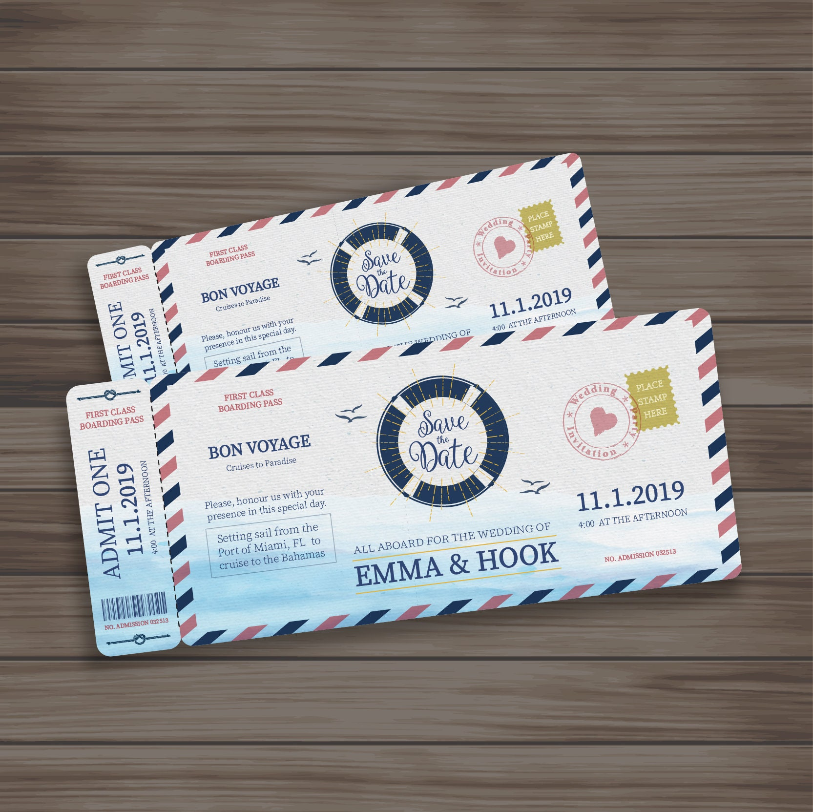 Boarding pass Cruise Wedding Ticket or Birthday Invitation | Etsy
