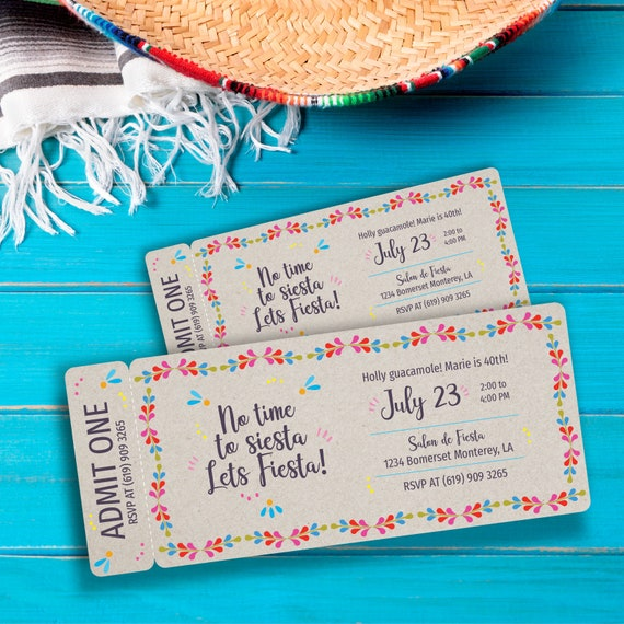 Mexican Fiesta Kermesse Ticket Invitation Digital Download Edit It Yourself Or We Customize It For You Personal Use Only