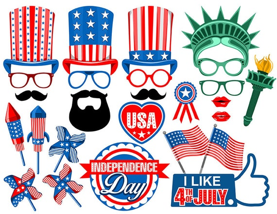4th July Photo Booth Props Digital Instant Download Etsy