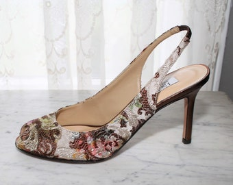 7fada23f832b Vintage 80s 90s Floral Brocade Tapestry Bronze Leather Pumps Heels Shoes  Peeptoe Slingback Size US Womens 8.5 Deadstock NWOB Isaac Italy