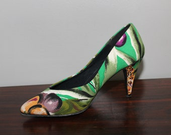 d64bd78cdcc Vintage 80s Fabric Pumps Heels Shoes Green Tropical Size 7 New Wave Club  Kid Rave New Old Stock Deadstock NOS