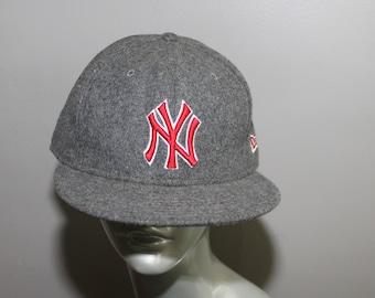 b6d4a723721 Gray Wool New York Yankees Baseball Hat New Era 7 5 8 Urban Red Hip Hop Rap  Retro Trucker Hipster Bronx NYC