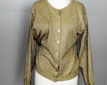 2e3dbd5b89 Vintage 80s Gold Lame Sparkle Cardigan Sweater Pin Up Avant Garde New Wave  Punk Romantic Goth Retro Size M 40 Chest Party Jumper
