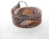 Vintage 70s 80s Wide Brown Leather Belt Tooled Painted Eagle Mod Grunge Western Cowboy Buckle Removable Worn Distress Retro Size 38