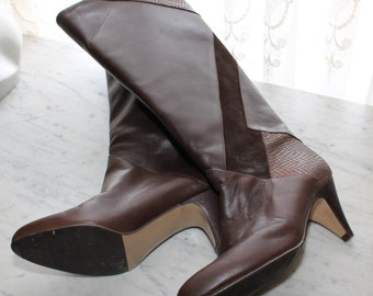 9280faea5 Vintage 80s Brown Leather tall Boots US Womens size 6.5 New Old Stock  Deadstock NOS New Wave