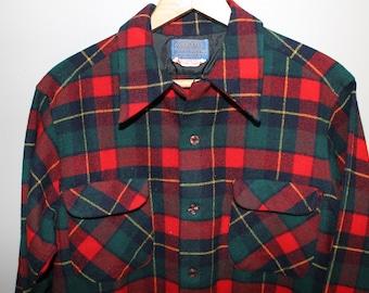 bb4b2b62bd17 Vintage 50s 60s Red Green Plaid Wool Pendleton Shirt Board Surfer Loop  Collar M 42 Chest