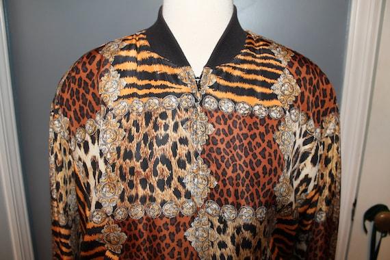 Vintage Silk Leopard Baroque Chain Bomber Jacket … - image 2