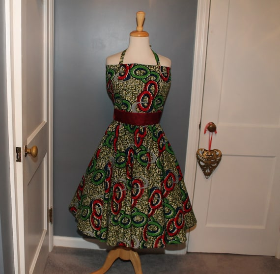 Atomic 50s Style Homemade Dress Full Circle Skirt… - image 1