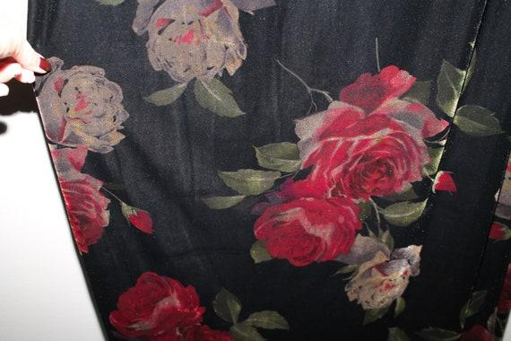 Vintage 90s Black Velvet Pink White Roses Maxi Ski