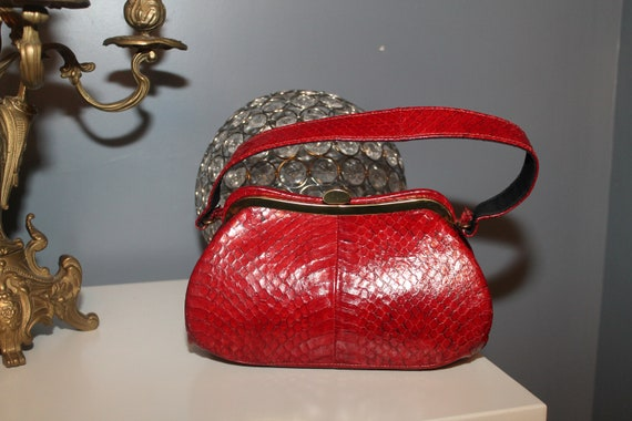 Lipstick Red Snakeskin Purse Bag 1940s 50s Reptile
