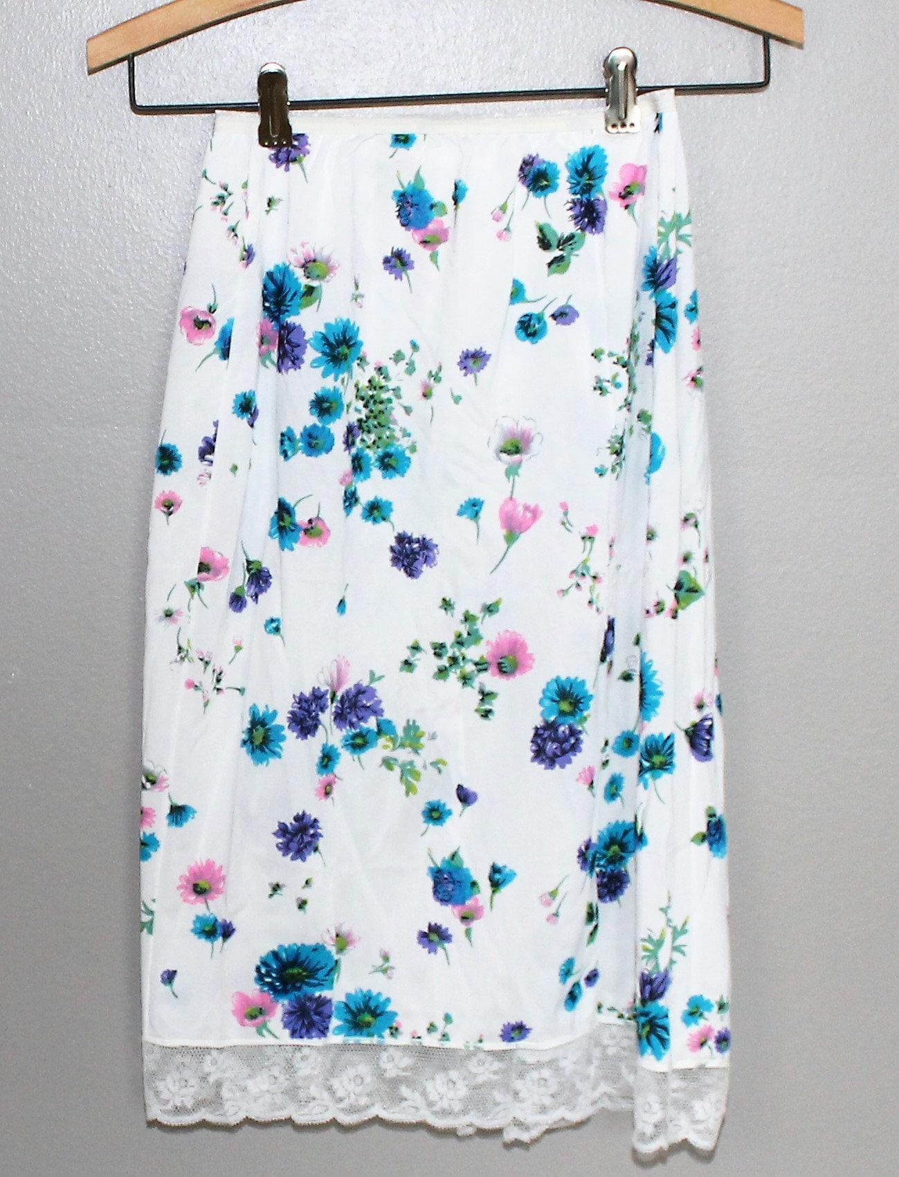 20f7c1e9c Vintage 60s White Blue Floral Flower Power Lace Trim Half Slip medium Short  Psychedelic Lingerie Hollywood Vassarette Nylon Mod