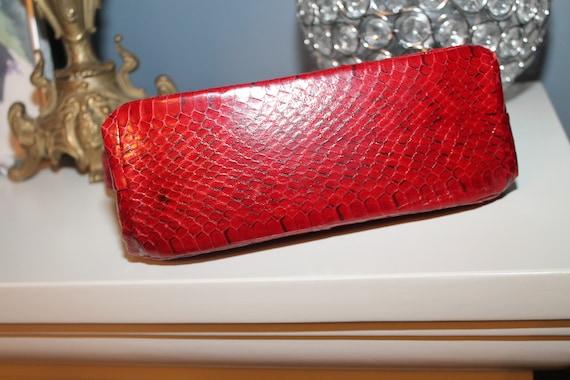 Lipstick Red Snakeskin Purse Bag 1940s 50s Reptil… - image 5