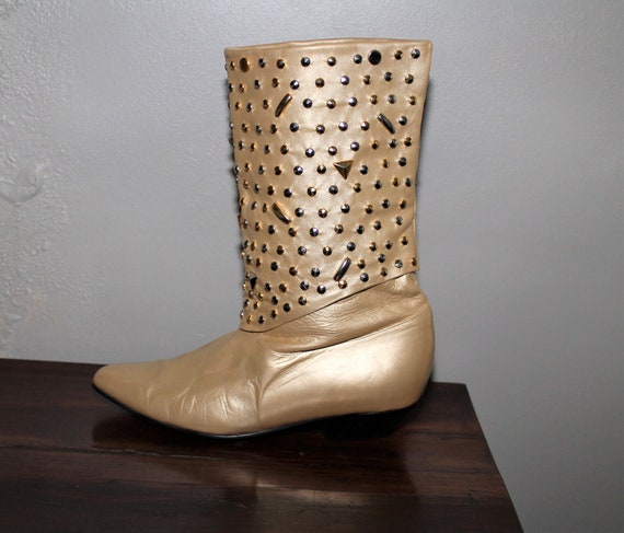 Vintage 80s Gold Leather Boots US Womens size 8.5