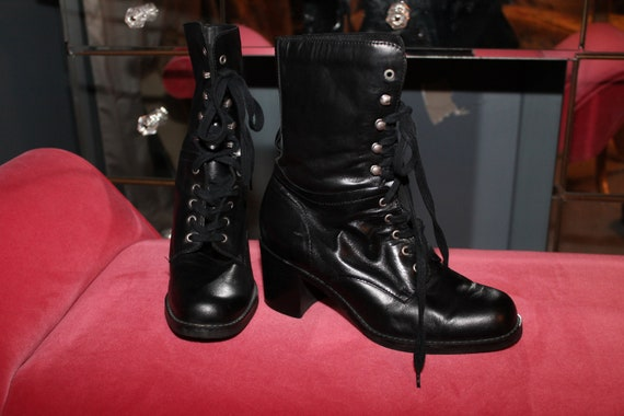 90s Grunge Lace Up Black Leather Granny Combat Boo
