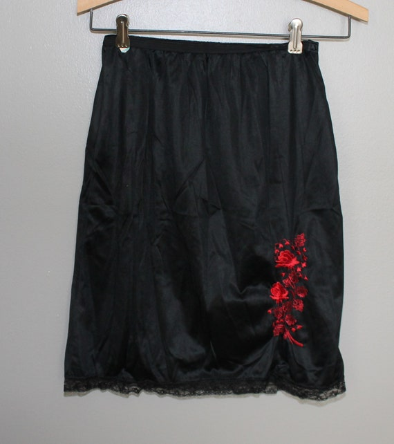 58ecc53f7f7 ... Vintage 60s Red Embroidered Roses Black Lace Trim Half Slip Gothic Goth Lingerie  Nylon Mod Sexy