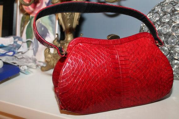 Lipstick Red Snakeskin Purse Bag 1940s 50s Reptil… - image 4