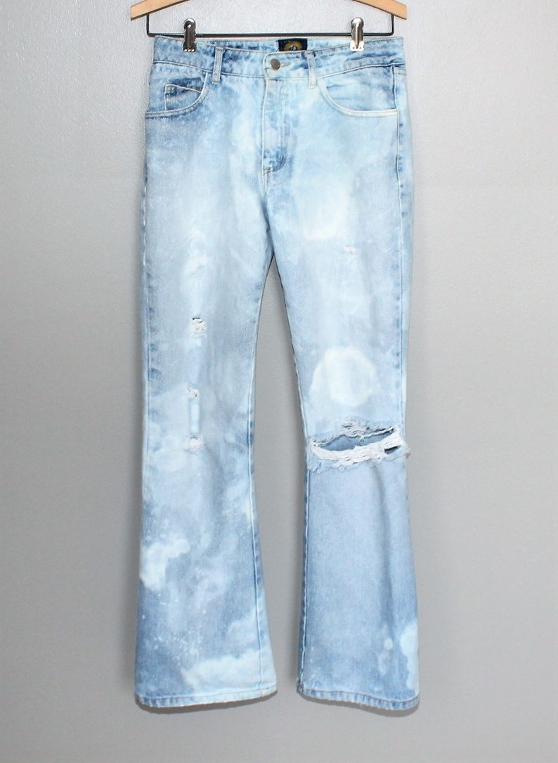 AA8 Vintage 90s Paris Blues Thrashed Jeans Denim Flares Size 7 30 Waist  Faded Holes USA  Festival Cosmic Trashed Bleached