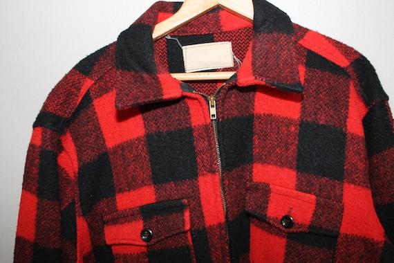 2cb18f33870 ... Vintage 1950s Chore Hunting Buffalo Plaid Coat Jacket Wool Rockabilly  Mid Century Black Red 46 Chest