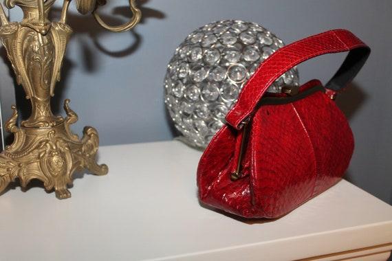 Lipstick Red Snakeskin Purse Bag 1940s 50s Reptil… - image 2