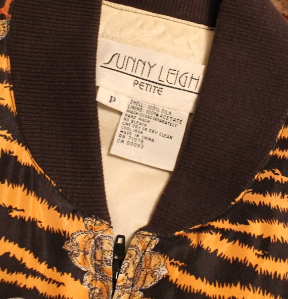 Vintage Silk Leopard Baroque Chain Bomber Jacket … - image 5