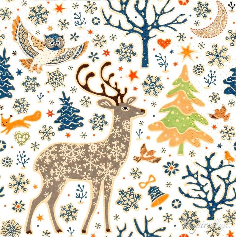 Napkins 05 2pcs Paper Woodland Christmas Pattern Napkins for Decoupage,Craft,Scrap Boking /& 8 individual 3 ply napkins 33x33