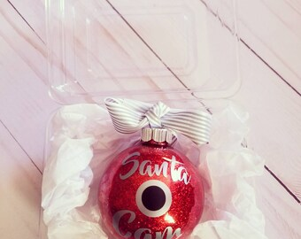 Christmas ornament, Santa camera ornament, glitter ornament, Christmas tree ornament, red ornament, Christmas tree bulb, cute ornament