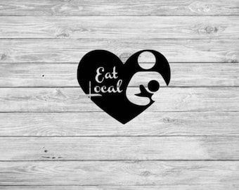 Eat local decal, breastfeeding decal, eat local permanent sticker, decal for mom, mom decal, breastfeeding heart decal, car decal, decal
