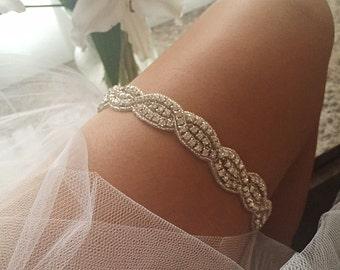 551151a79 Bachelorette Party Wedding Rhinestone Garter w  Crystal Bling   White Satin  Elastic Bling Bride To Be Bachelorette Party Bridal Shower Toss