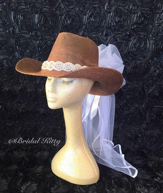 03f555feb45 Cowboy Hat Veil Country Bachelorette Party Western Wedding