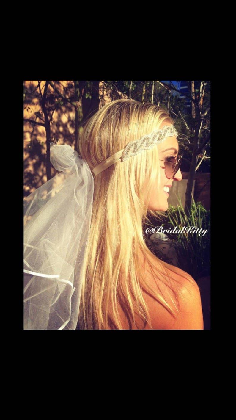 Bachelorette Party Crystal Headband Tiara Crown Veil Bridal Shower Bikini Bride To Be Hen Wedding Veil Set