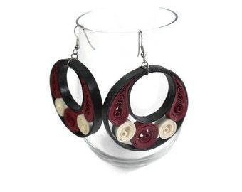 Burgundy dangle earrings - Paper quilling - Quilled earrings - Paper quilling jewelry - Quilled jewelry - Unusual jewelry - Modern earrings
