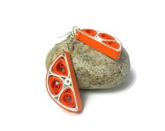 Orange slice dangle earrings - Fun fruit earrings - Paper quilling jewelry - Quilled earrings - Quilling earrings - Eco friendly jewelry