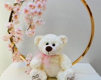 Gold ring and Teddy Bear Centerpiece, SET OF 4 CENTERPIECES, First Teddy Bear Centerpiece, Baby Shower Centerpiece, 1st Birthday centerpiece