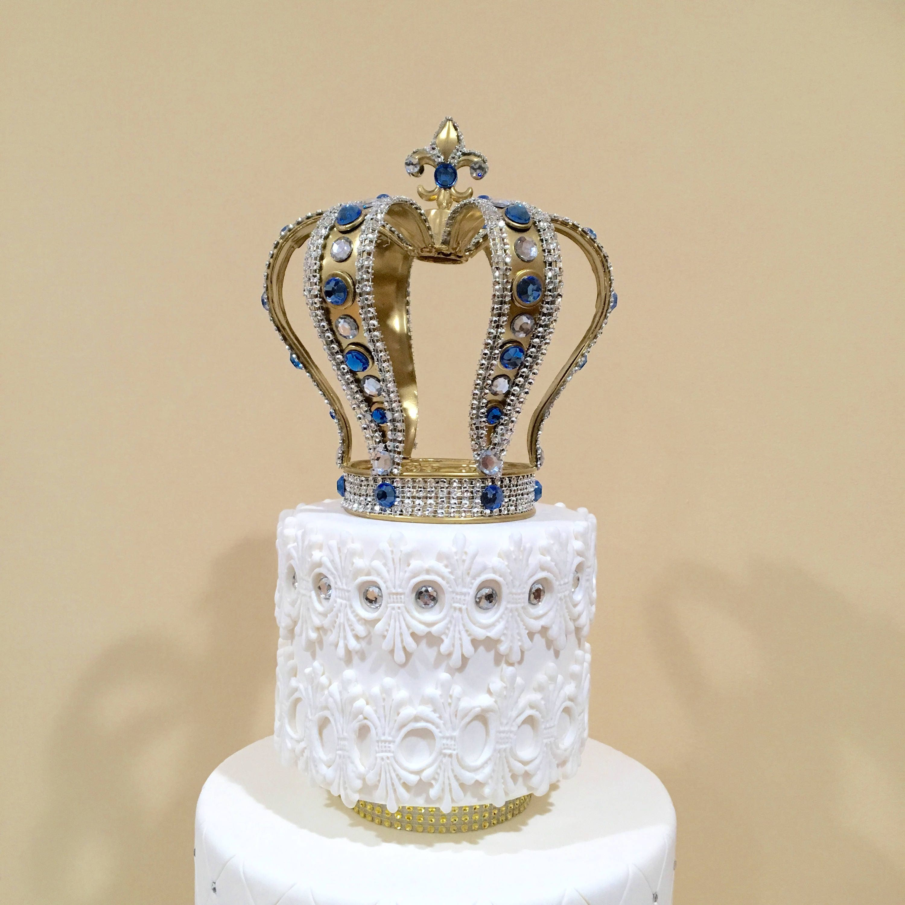 SALE Handmade Crown cake topper with royal blue crystals ...