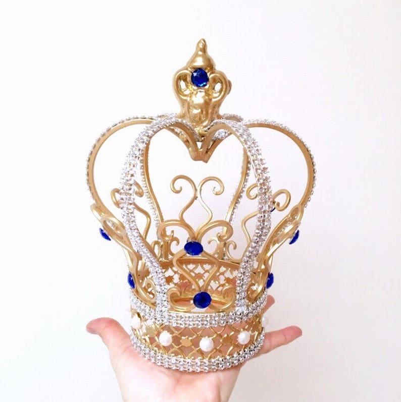 Gorgeous Gold Crown Cake Topper with royal blue crystals for image 0